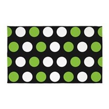 Green And White Polka Dots 3'x5' Area Rug
