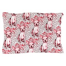 Chihuahua Pink Hearts Pillow Case