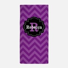 Purple Black Chevron Personalized Beach Towel