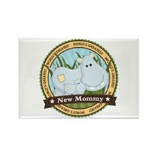 New Mom Hippo Rectangle Magnet