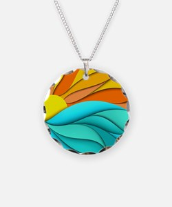Abstract Ocean Sunset Necklace