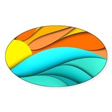 Abstract Ocean Sunset Decal