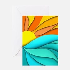 Abstract Ocean Sunset Greeting Card