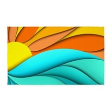 Abstract Ocean Sunset 3'x5' Area Rug