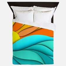 Abstract Ocean Sunset Queen Duvet
