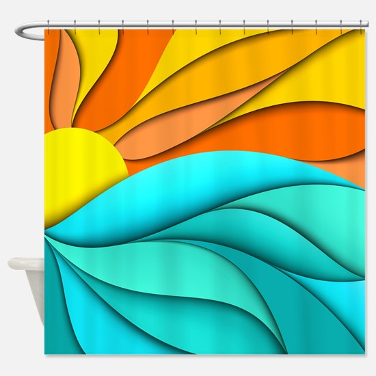 Abstract Ocean Sunset Shower Curtain