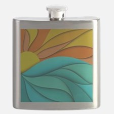 Abstract Ocean Sunset Flask