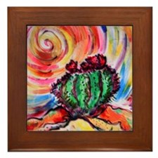 Cactus, colorful desert art, Framed Tile
