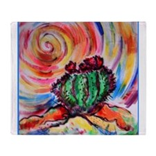 Cactus, colorful desert art, Throw Blanket