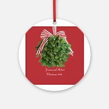 Personalized Couple Mistletoe Ornament (round)