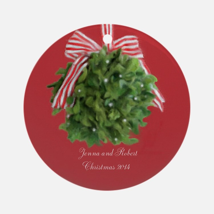 Personalized Couple Mistletoe Ornament (round)