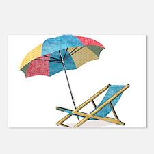 Cute Beach umbrella Postcards (Package of 8)