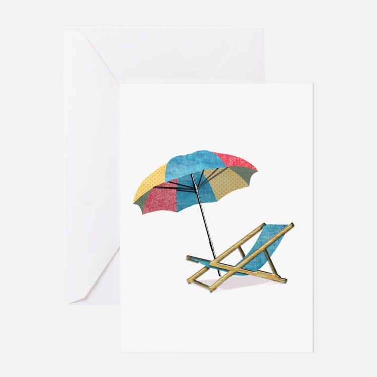 Beach Chair and Umbrella Greeting Cards