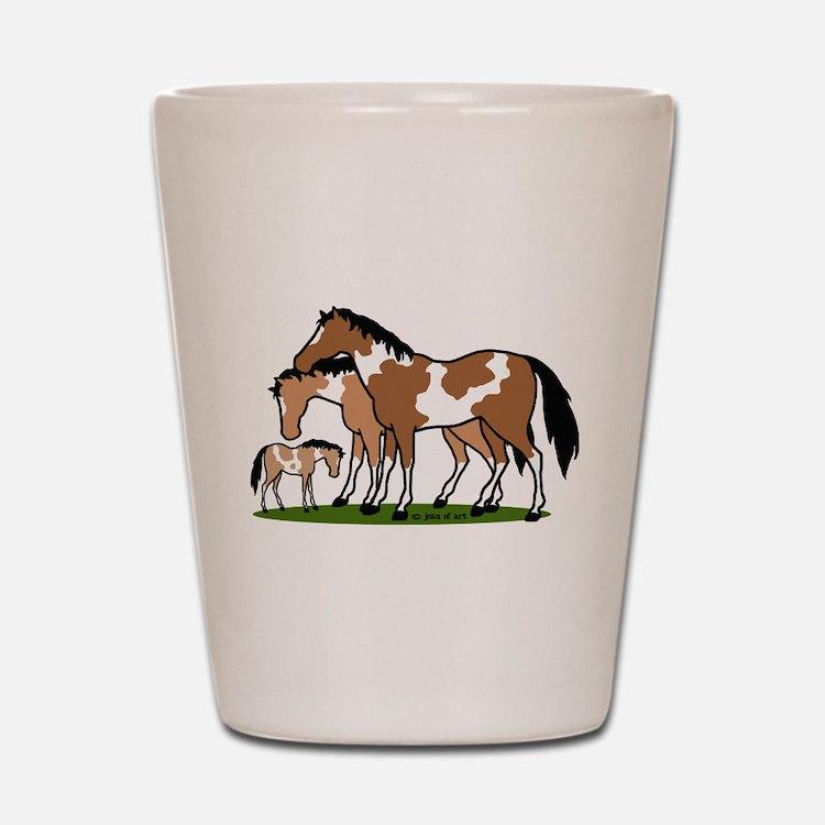 Happy Indian Horses Shot Glass