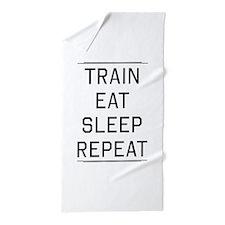 Train eat sleep repeat Beach Towel