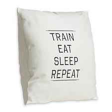 Train eat sleep repeat Burlap Throw Pillow