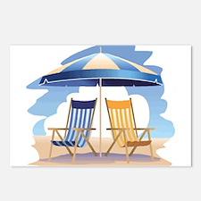 Beach umbrella Postcards (Package of 8)