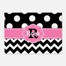 Black Pink Dots Chevron Personalized 5'x7'Area Rug