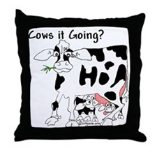 Cartoon Cow Throw Pillow