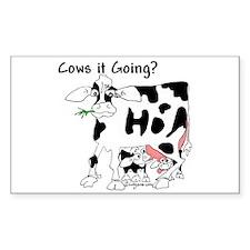 Cartoon Cow Rectangle Decal