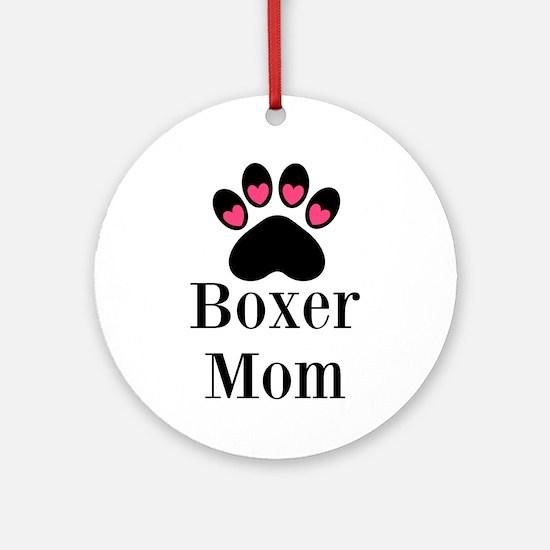 Boxer Mom Paw Print Ornament (Round)