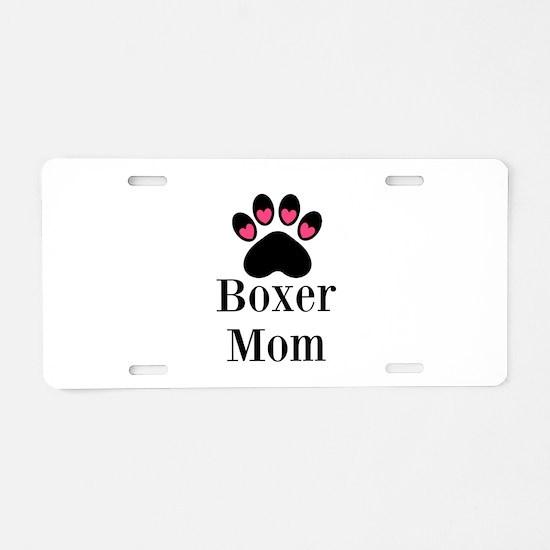 Boxer Mom Paw Print Aluminum License Plate