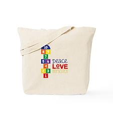 Peace Love Hopscotch Tote Bag