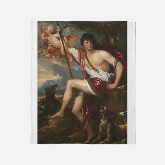 Vintage Paintng Of Adonis Throw Blanket
