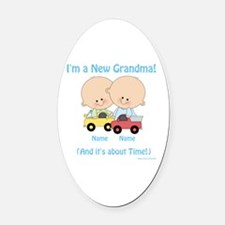 New Grandma Twin Boys Customizable Oval Car Magnet