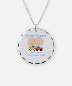 New Grandma Twin Boys Custom Necklace Circle Charm
