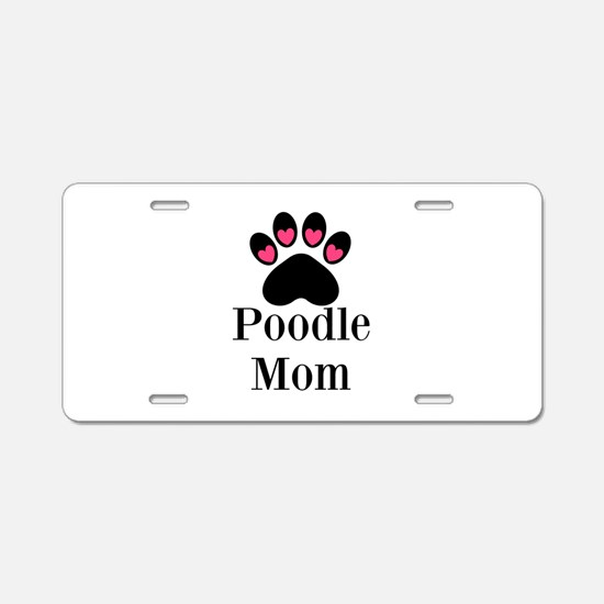 Poodle Mom Paw Print Aluminum License Plate