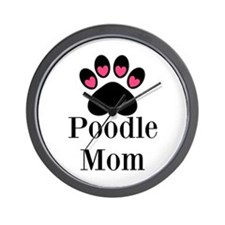 Poodle Mom Paw Print Wall Clock