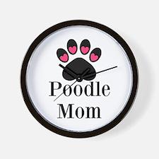 Poodle Mom Paw Print Wall Clock