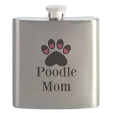 Poodle Mom Paw Print Flask
