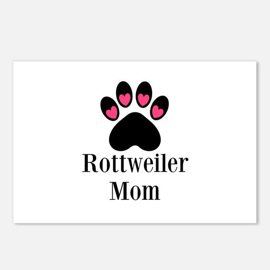 Rottweiler Mom Paw Print Postcards (Package of 8)