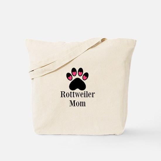 Rottweiler Mom Paw Print Tote Bag