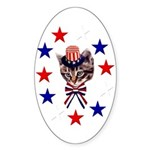 Independence Day Kitten Oval Sticker