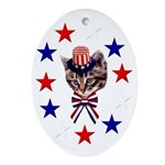 Independence Day Kitten Oval Ornament