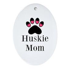 Huskie Mom Paw Print Ornament (Oval)