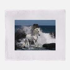 Cute White horse Throw Blanket