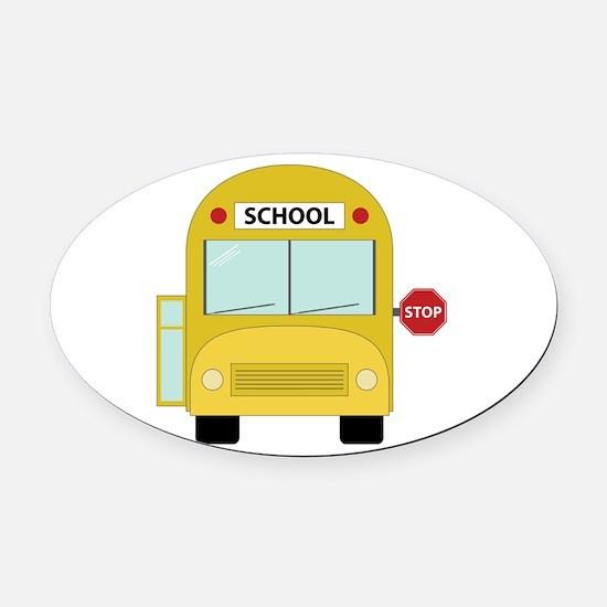 School Bus Oval Car Magnet