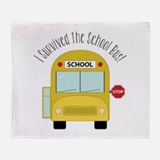 I Survied The School Bus Throw Blanket
