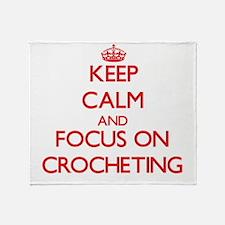 Funny Keep calm and crochet Throw Blanket