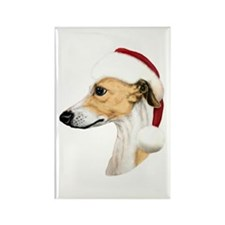 Tan & White Whippet Santa Rectangle Magnet