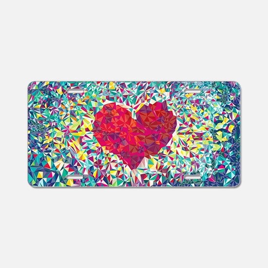 Cute Hearts Aluminum License Plate