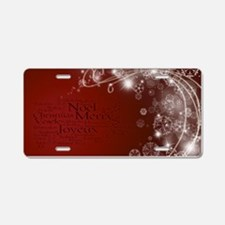 Red Christmas Aluminum License Plate