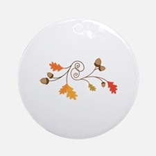Leaves & Acorn Swirl Ornament (Round)
