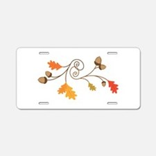 Leaves & Acorn Swirl Aluminum License Plate