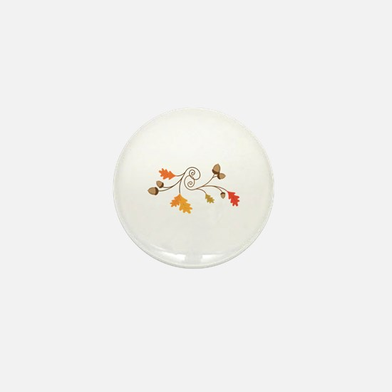 Leaves & Acorn Swirl Mini Button
