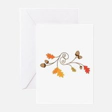 Leaves & Acorn Swirl Greeting Cards